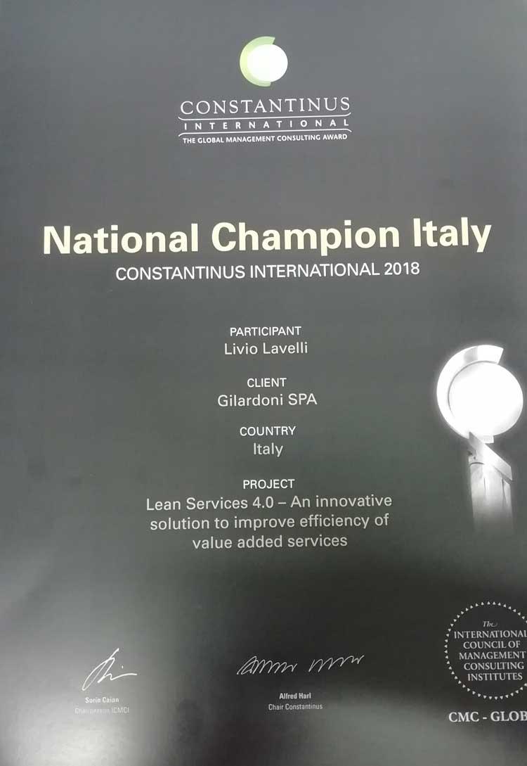 migliore progetto italiano 2018 - Constantinus Award - Gilardoni