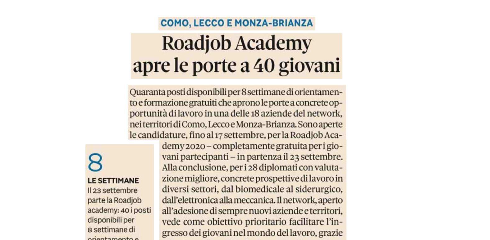 Al via il progetto RoadJob Academy… un ponte tra scuola e lavoro!